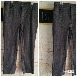 NYDJ Sheri Skinny Python Dark Ash Gray Jeans